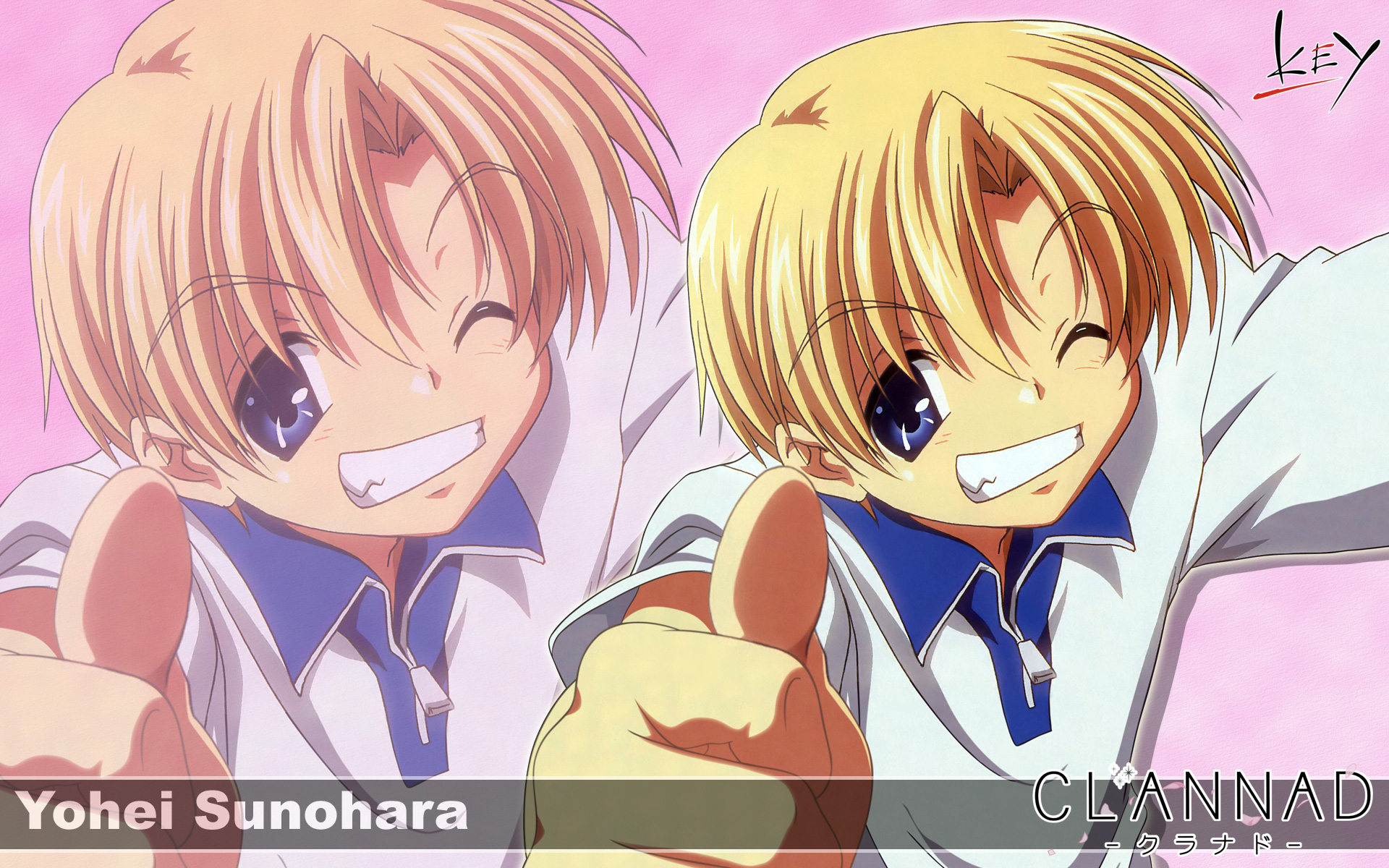 all_male blonde_hair clannad key logo male sunohara_youhei zoom_layer