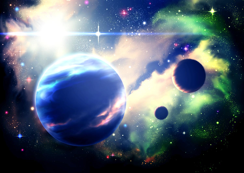 3d night nobody original planet scenic sky space stars y-k