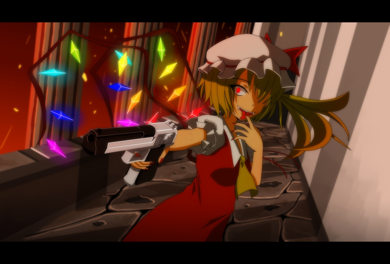 blonde_hair dress fang flandre_scarlet gun hat red_eyes short_hair tomon_(slash0410) touhou vampire weapon wings