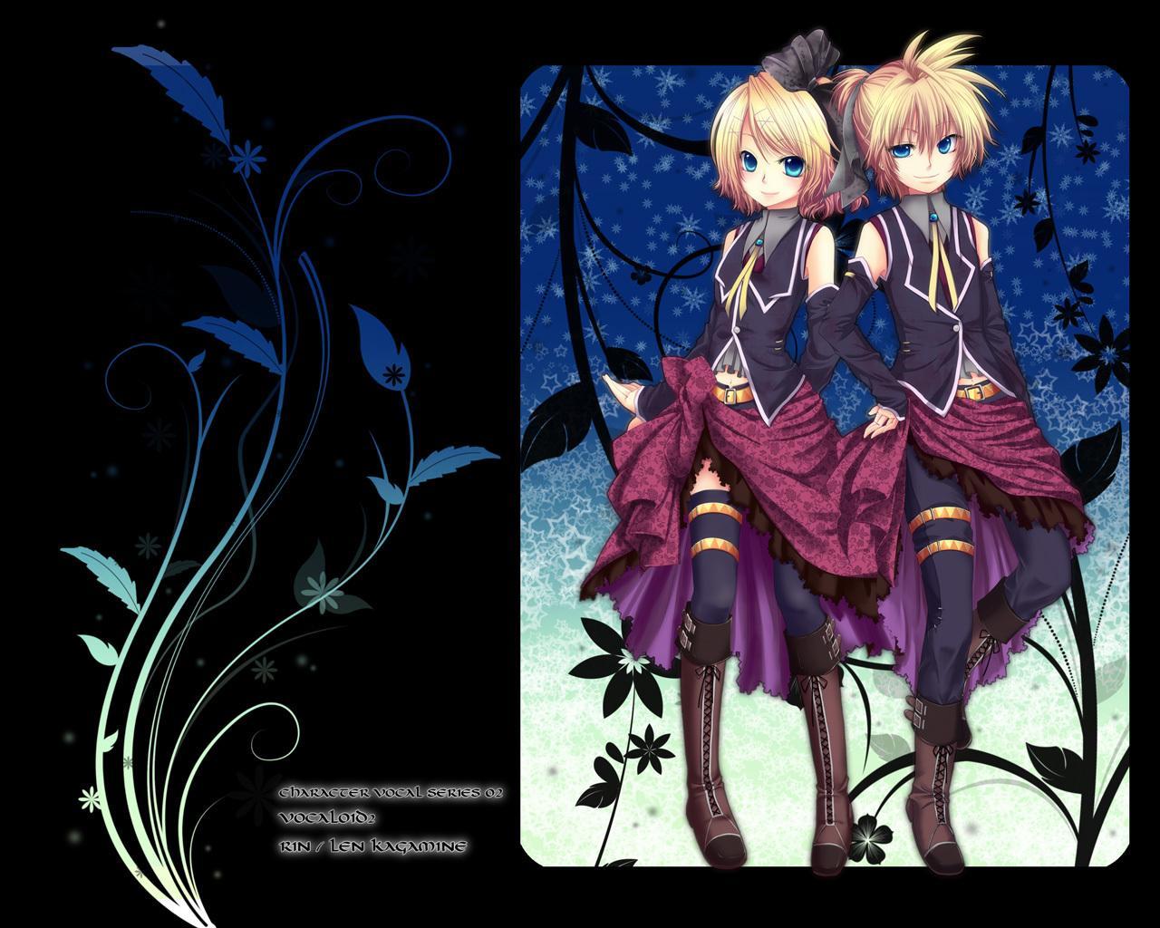 aqua_eyes blonde_hair chirota jpeg_artifacts kagamine_len kagamine_rin male short_hair vocaloid