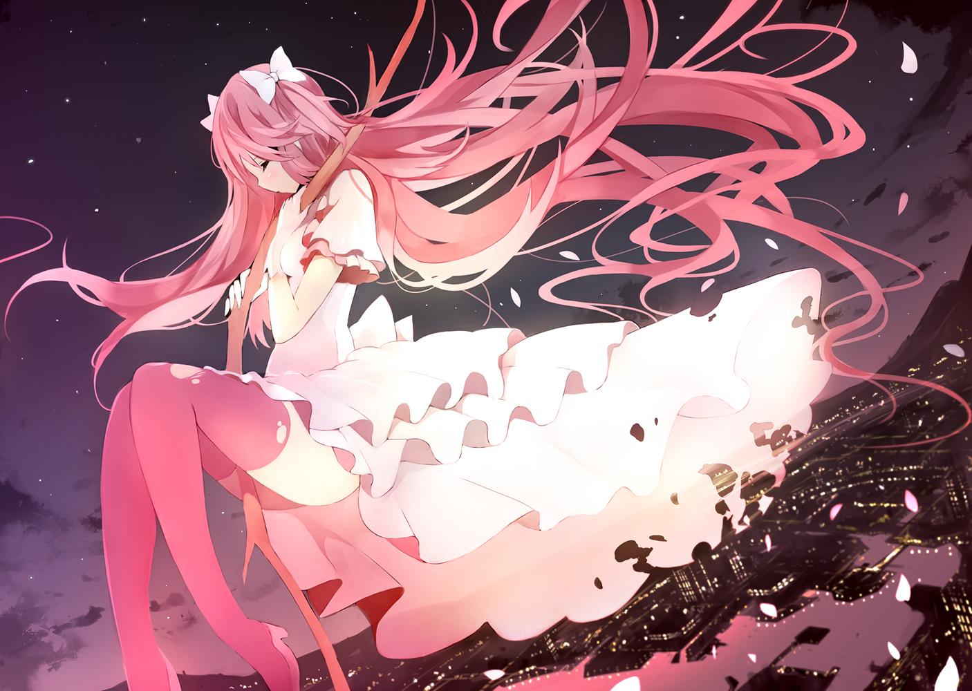 building city clouds dress kaname_madoka long_hair mahou_shoujo_madoka_magica petals pink_hair senya_fuurin sky thighhighs ultimate_madoka