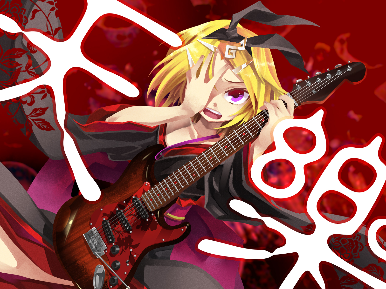 guitar instrument japanese_clothes kagamine_rin negi red vocaloid