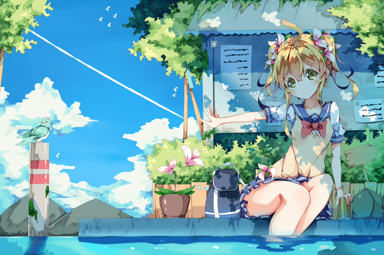 animal bird blonde_hair dango_remi flowers green_eyes original school_uniform skirt water