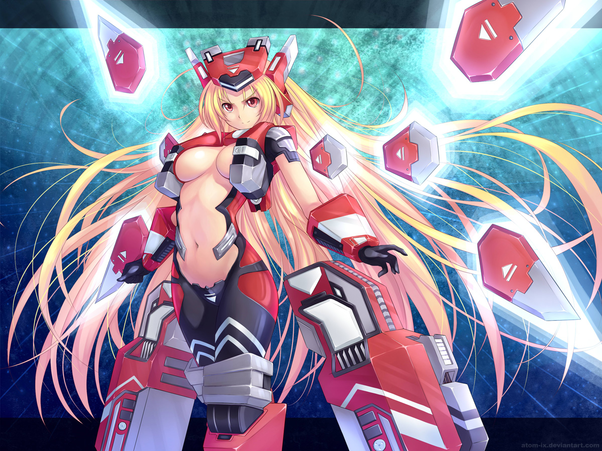 atomix blonde_hair cosmic_break crimrose gloves long_hair mechagirl red_eyes weapon