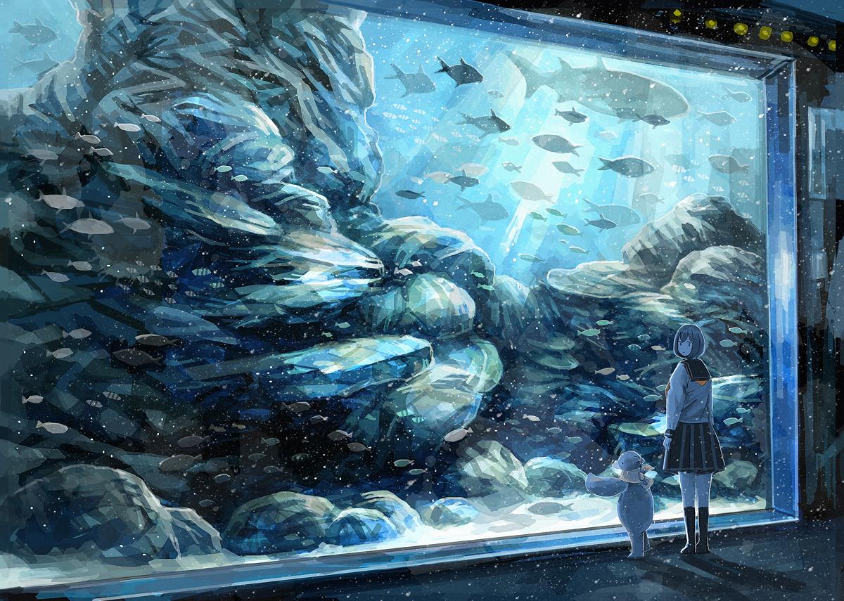 animal fish kneehighs nomiya_(no_38) original polychromatic school_uniform short_hair teddy_bear underwater water
