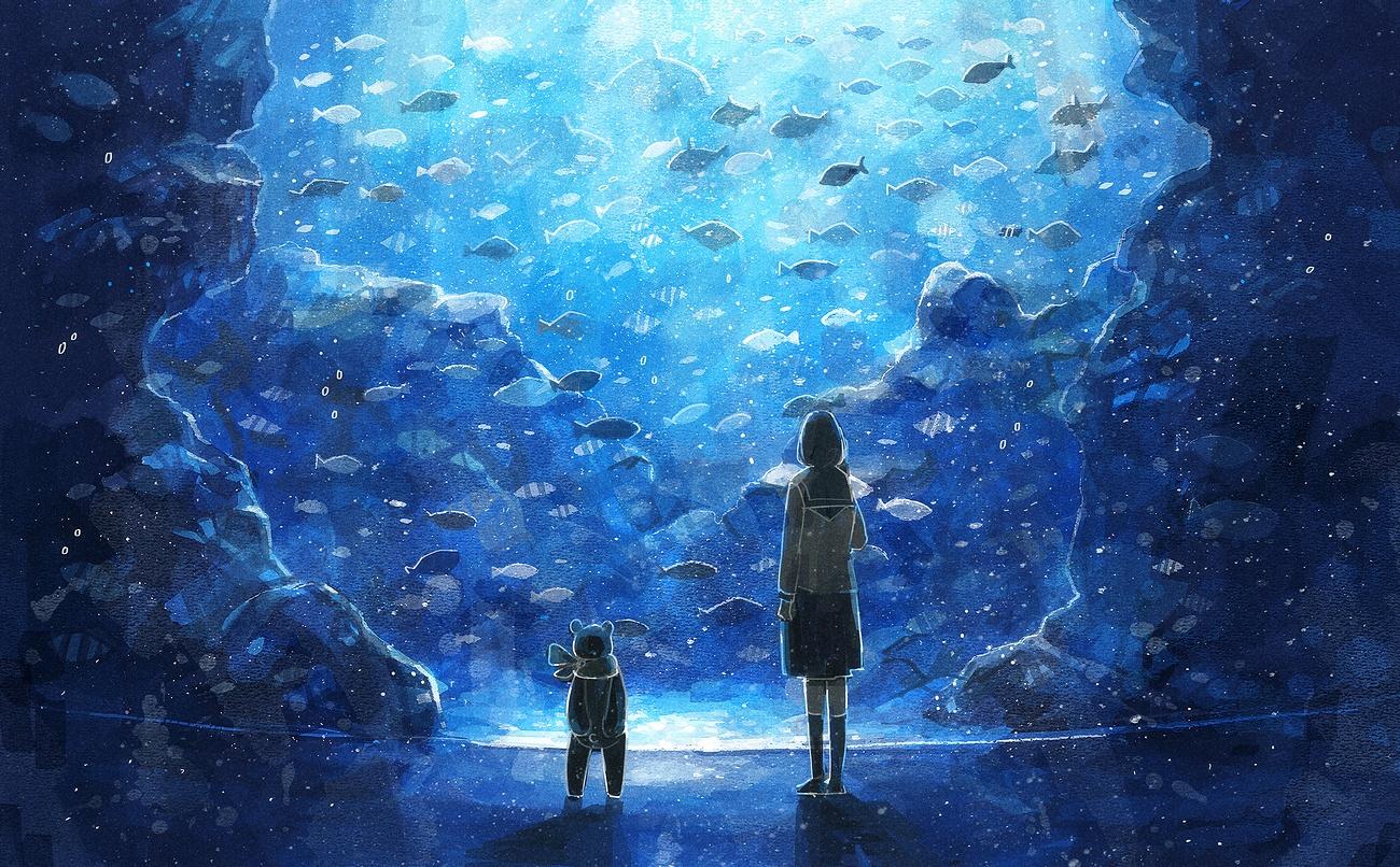 animal blue fish kneehighs nomiya_(no_38) original polychromatic school_uniform teddy_bear