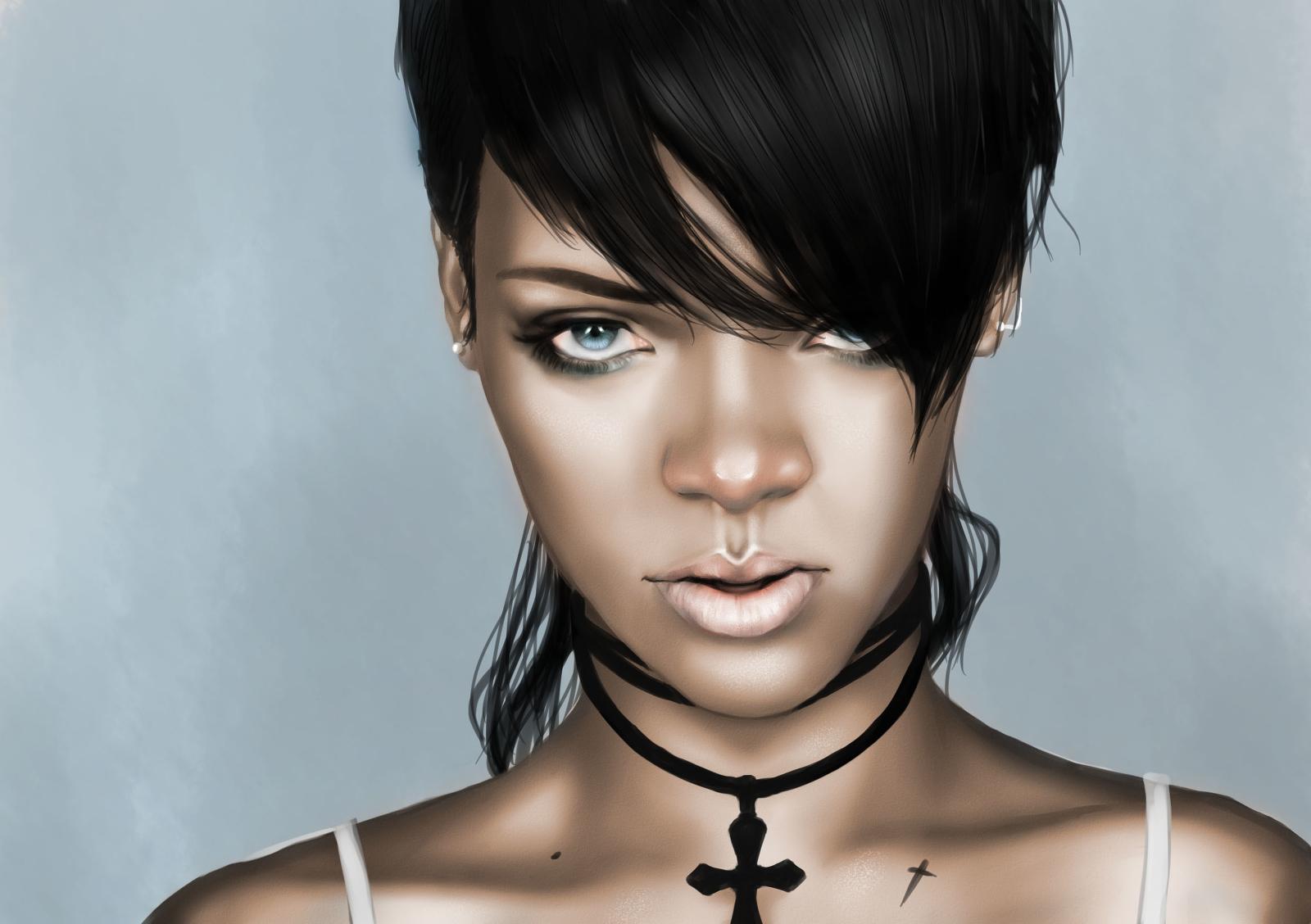 Black Hair Blahblahblah Blue Eyes Close Cross Necklace