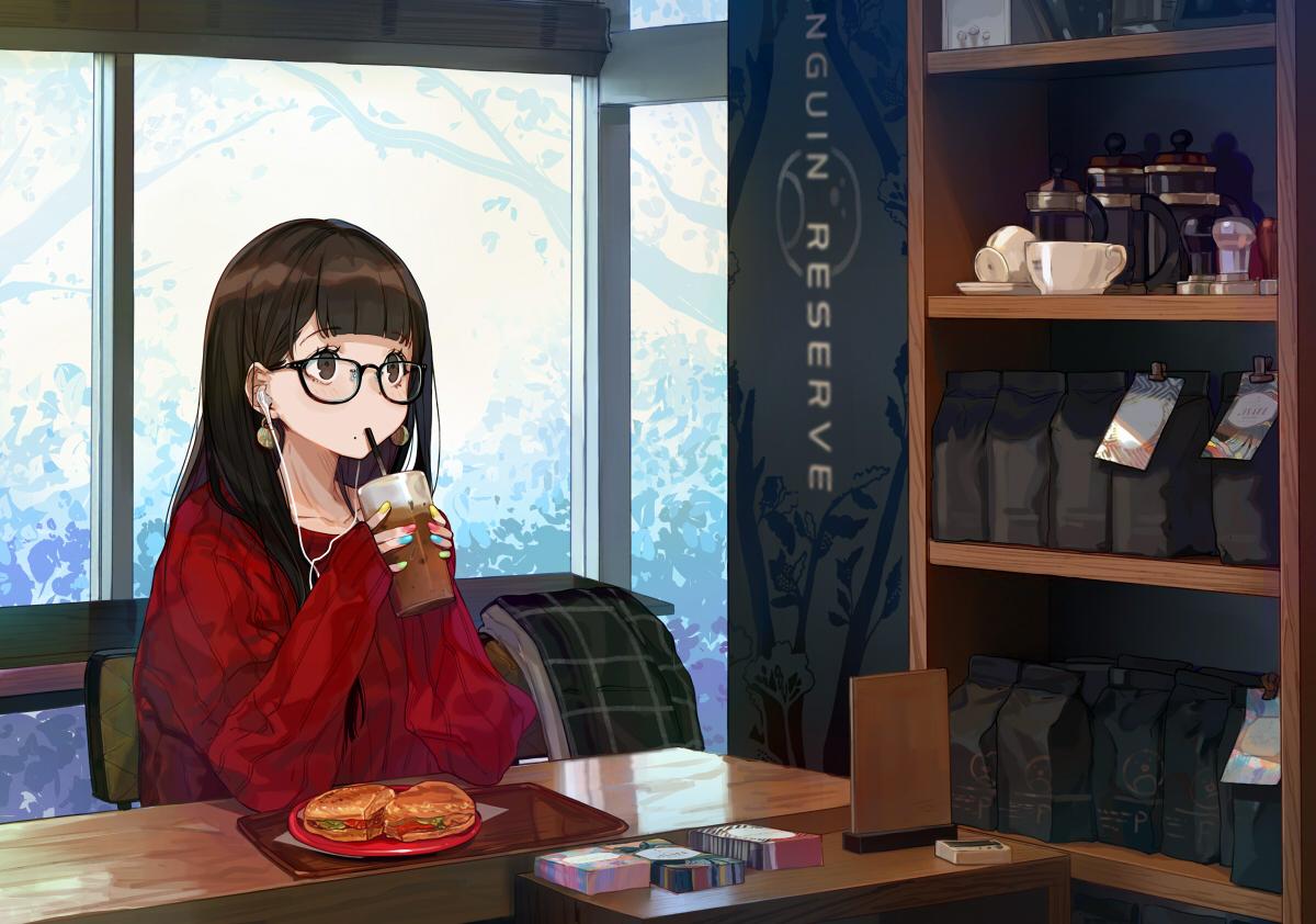 aliasing brown_eyes brown_hair drink food glasses headphones long_hair original yuu_(higashi_no_penguin)