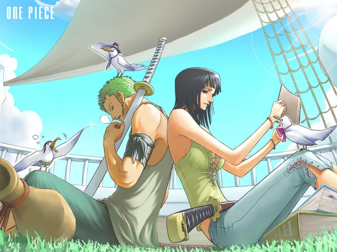 animal bird black_hair green_hair katana nico_robin one_piece roronoa_zoro sword weapon