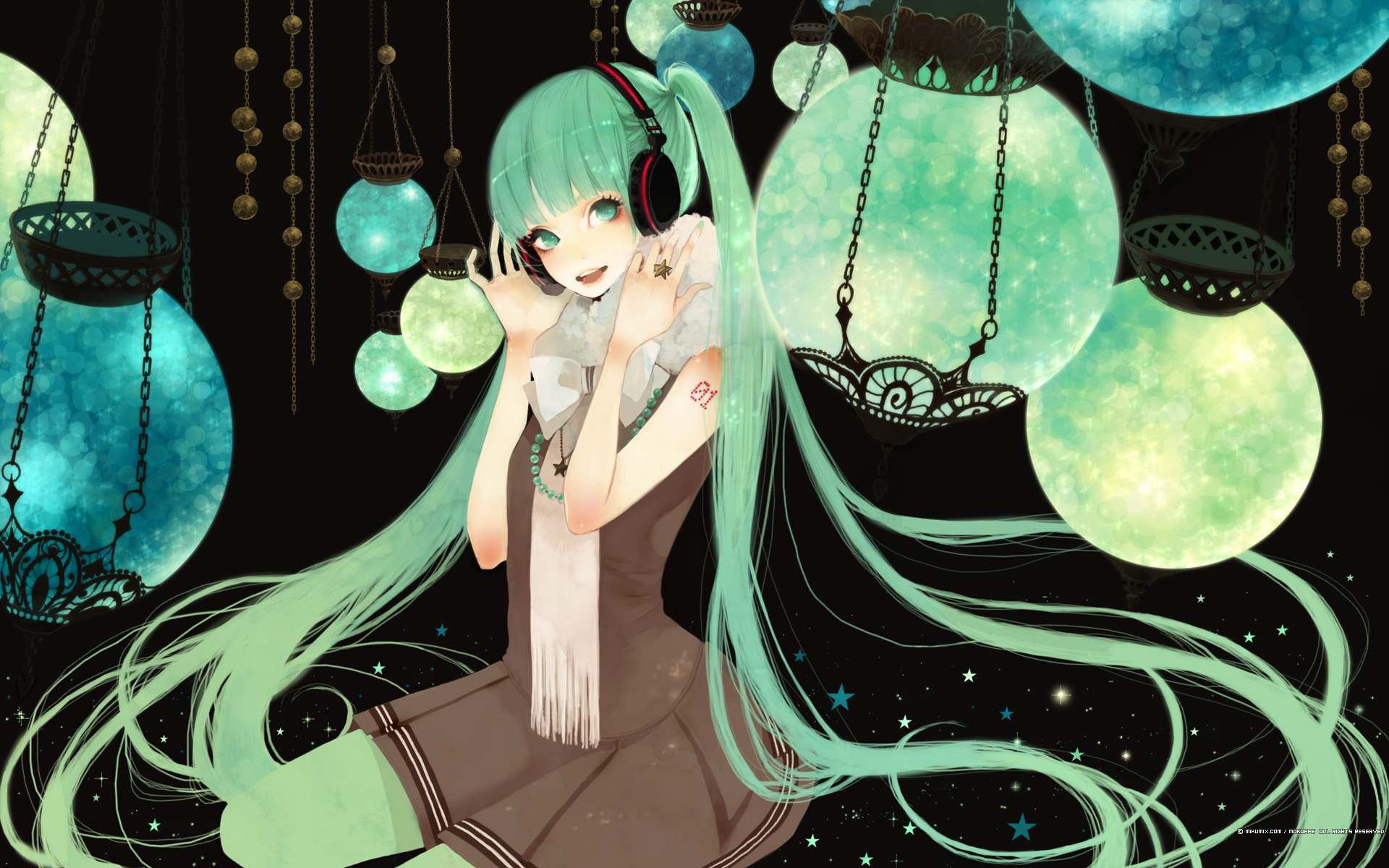 green_eyes green_hair hatsune_miku headphones long_hair mikumix skirt space twintails vocaloid