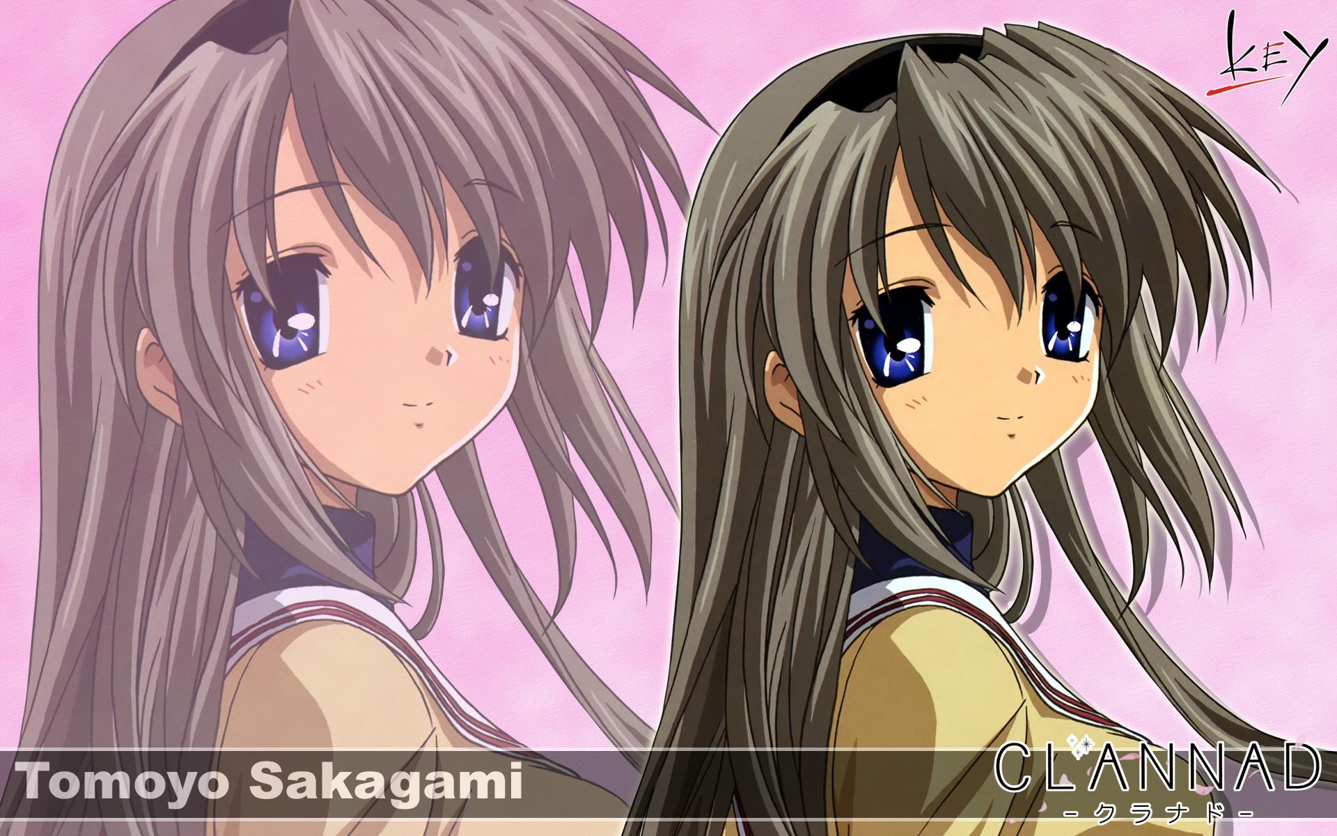blue_eyes brown_hair clannad gray_hair headband key logo long_hair sakagami_tomoyo seifuku zoom_layer