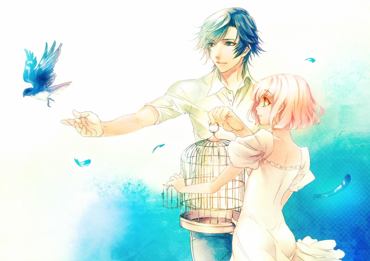animal bird cage feathers ichinose_tokiya nanami_haruka pink_hair short_hair tamachi_kuwa uta_no_prince-sama