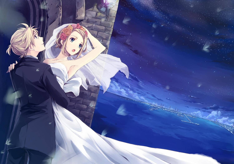 blonde_hair blue_eyes kagamine_len kagamine_rin male mayumelo night short_hair sky stars vocaloid wedding wedding_attire