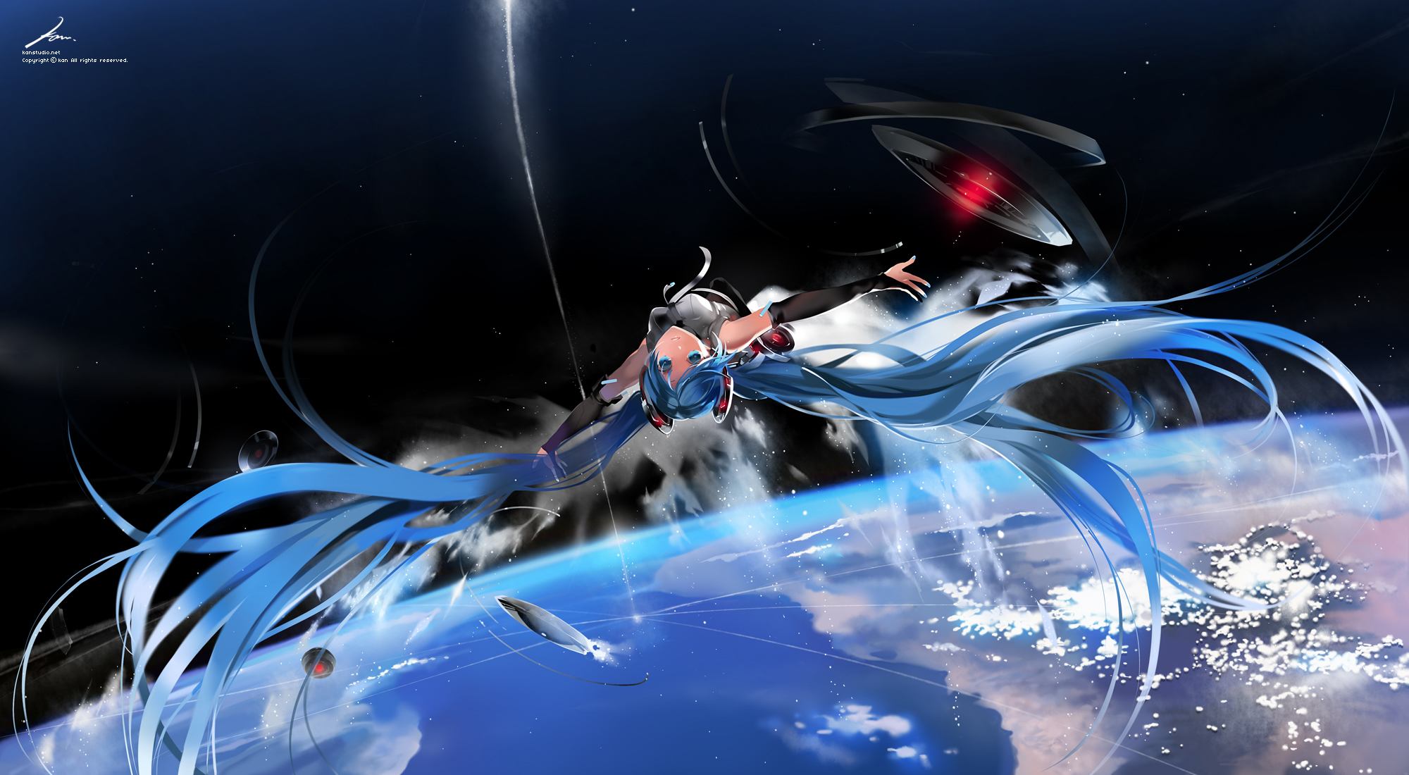 blue_eyes blue_hair hatsune_miku kaninn long_hair miku_append space stars tie twintails vocaloid