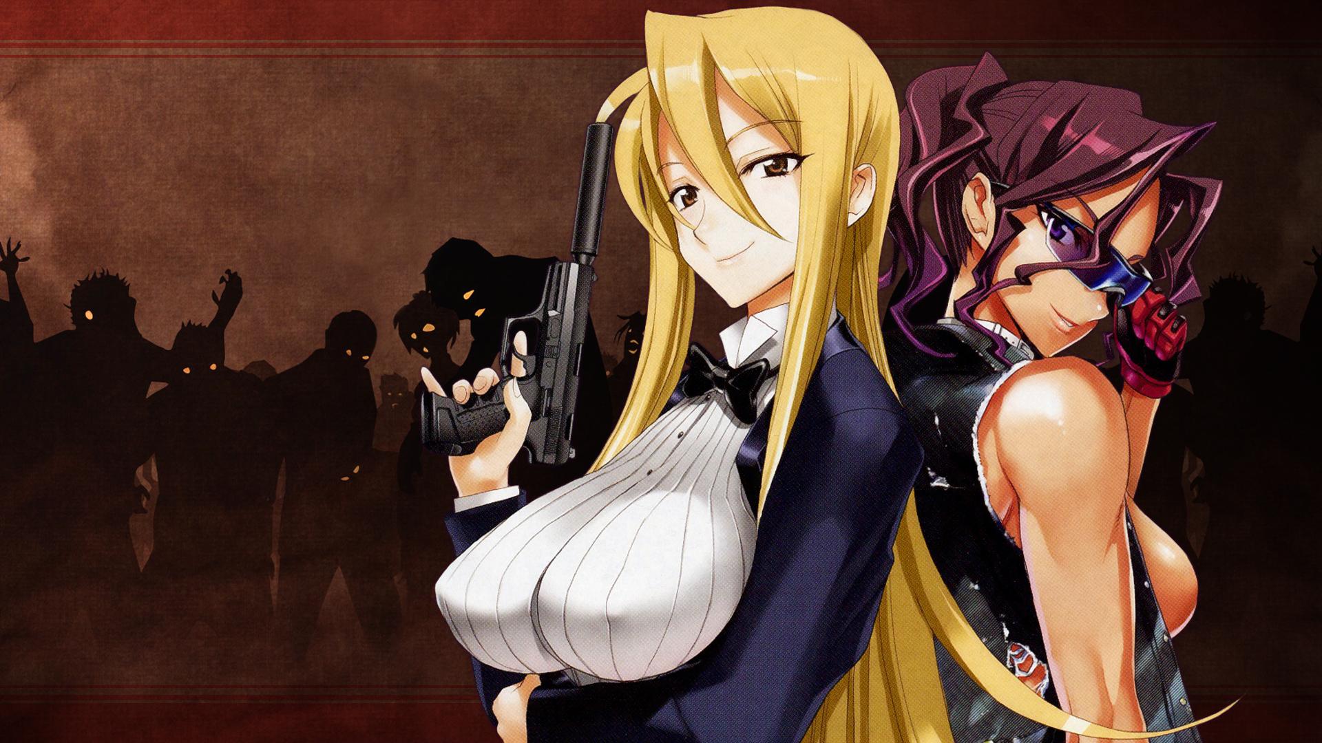 blonde_hair breasts cleavage erect_nipples gun highschool_of_the_dead marikawa_shizuka minami_rika scan weapon