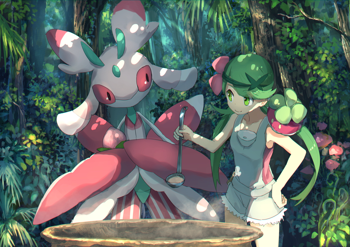 forest green_eyes green_hair long_hair lurantis mao_(pokemon) pippi_(p3i2) pokemon shorts tree twintails