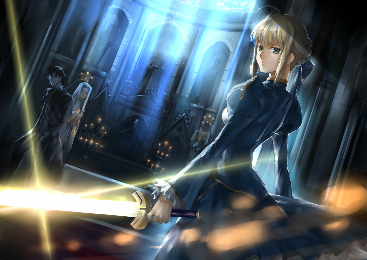 artoria_pendragon_(all) black_eyes black_hair blonde_hair dress emiya_kiritsugu fate_(series) fate/stay_night fate/zero green_eyes irisviel_von_einzbern red_eyes saber sword vlan weapon white_hair