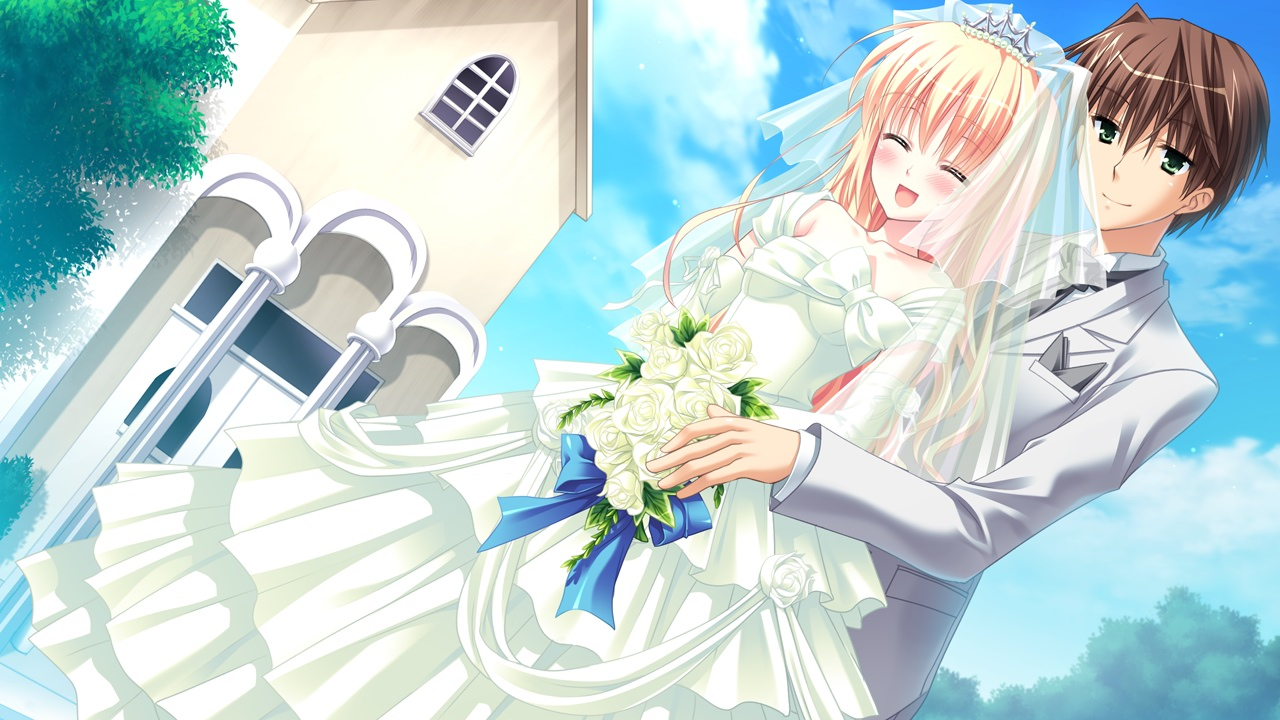 blush chimaro flowers game_cg green_eyes kisaragi_gold_star male nitta_futami nitta_ichika saga_planets suit wedding wedding_attire