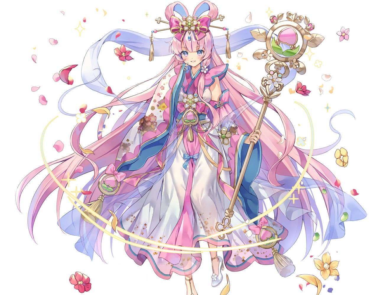 bow cropped flowers headdress japanese_clothes kurokishi_to_shiro_no_maou long_hair pink_eyes pink_hair staff white yeonwa