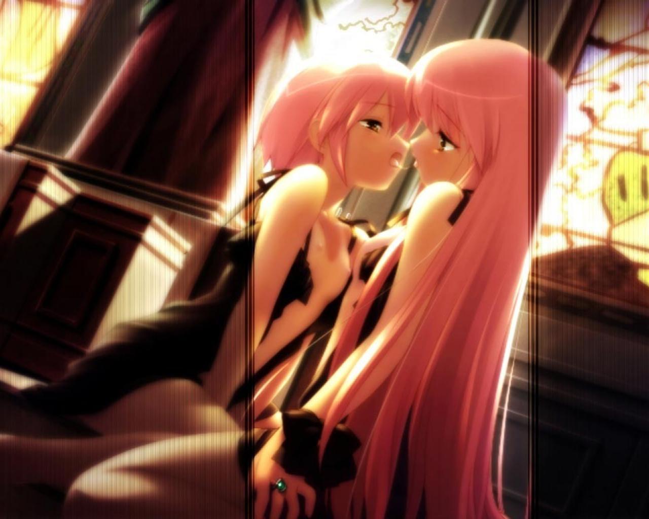 kiss kousaka_alice kousaka_maria long_hair nipples nude pink_hair short_hair suigetsu twins yuri