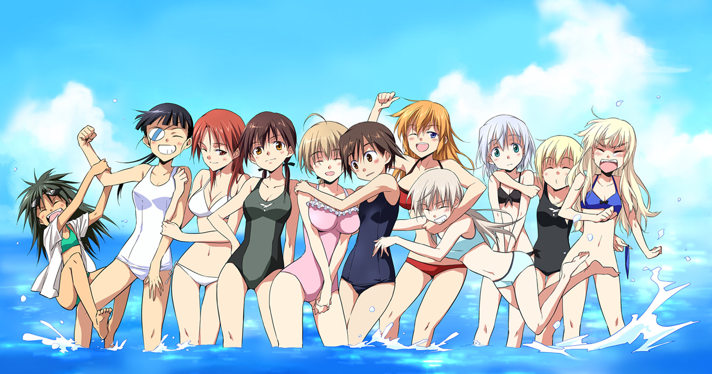agahari bikini charlotte_e_yeager eila_ilmatar_juutilainen erica_hartmann francesca_lucchini gertrud_barkhorn jpeg_artifacts lynette_bishop minna-dietlinde_wilcke miyafuji_yoshika perrine-h_clostermann sakamoto_mio sanya_v_litvyak strike_witches swimsuit water