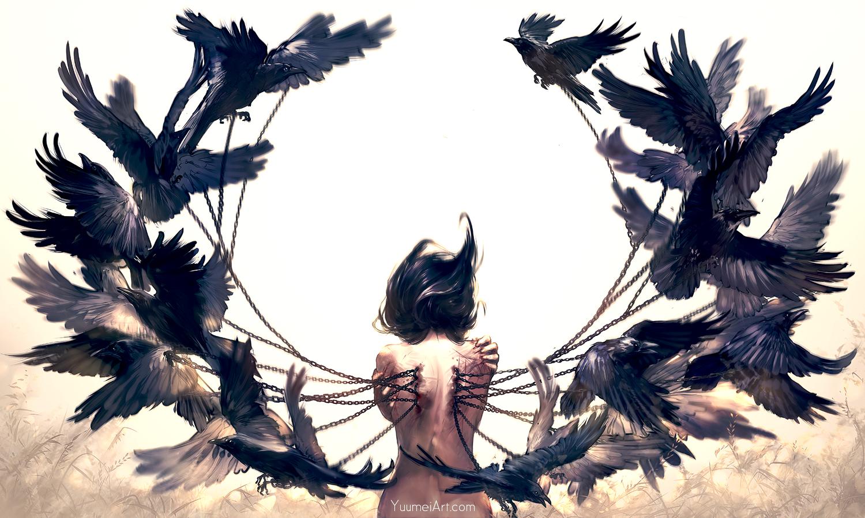 animal bird black_hair chain nude original scar watermark wenqing_yan_(yuumei_art) wings