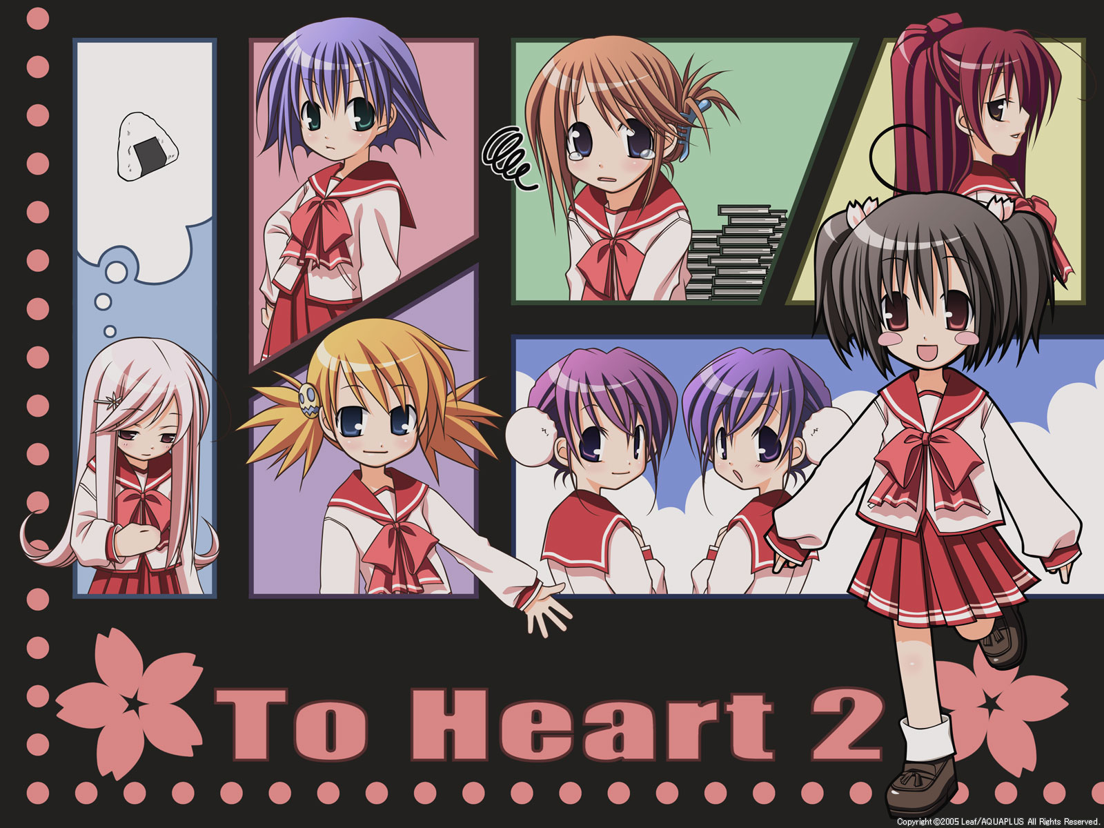 aquaplus chibi himeyuri_ruri himeyuri_sango komaki_manaka kousaka_tamaki leaf lucy_maria_misora sasamori_karin tagme_(artist) to_heart to_heart_2 tonami_yuma yuzuhara_konomi