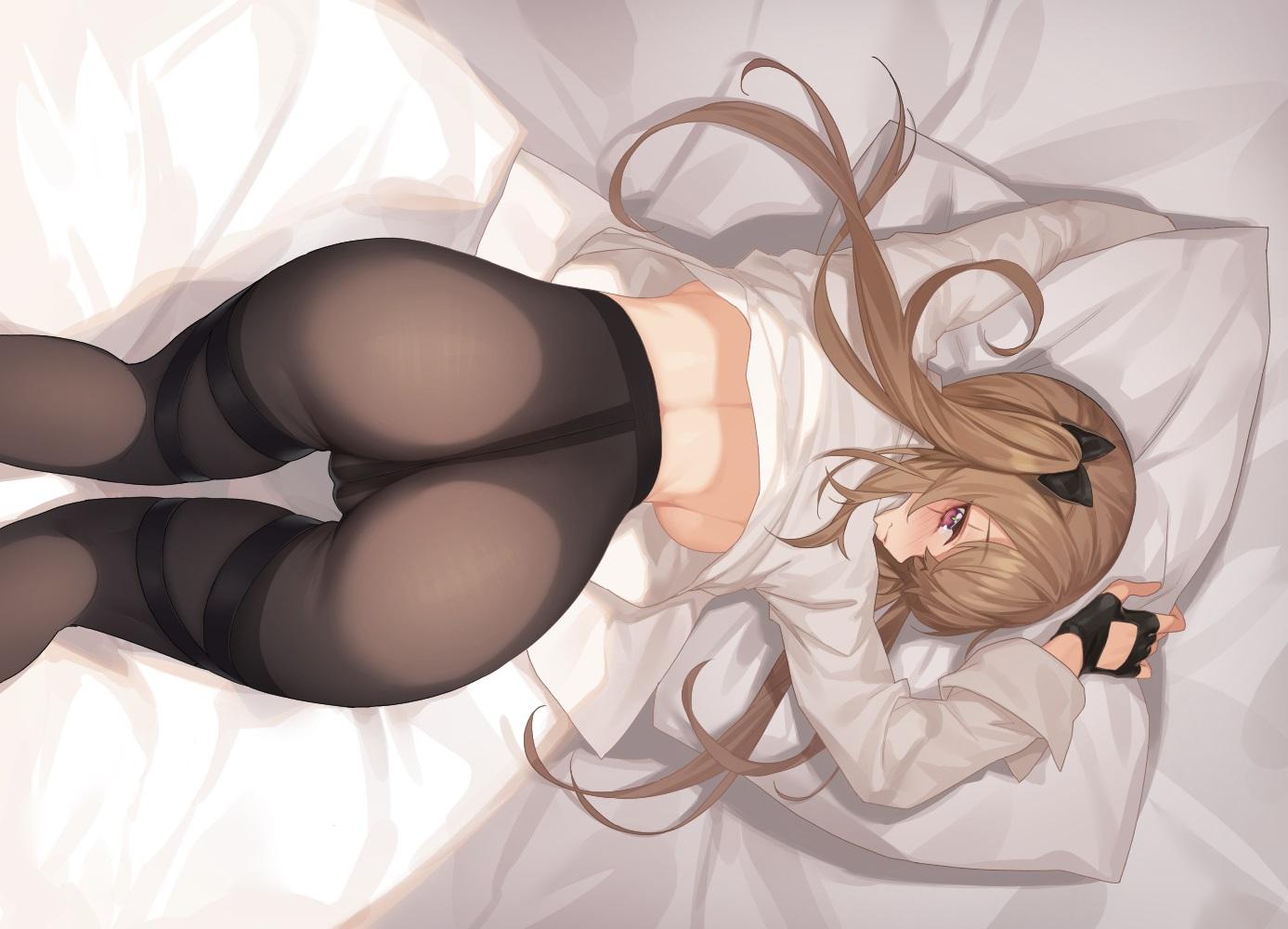 anthropomorphism ass bed blush breasts brown_hair cameltoe girls_frontline gloves long_hair mokew no_bra pantyhose red_eyes shirt shirt_lift sideboob twintails ump-9_(girls_frontline)