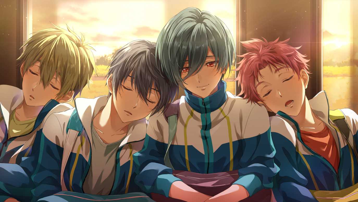 aliasing all_male free! kirishima_ikuya male nanase_haruka shiina_asahi sleeping tachibana_makoto zattape