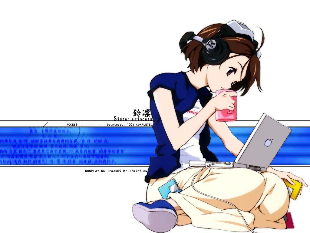 apple computer food fruit headphones mac minakami_rinrin sister_princess