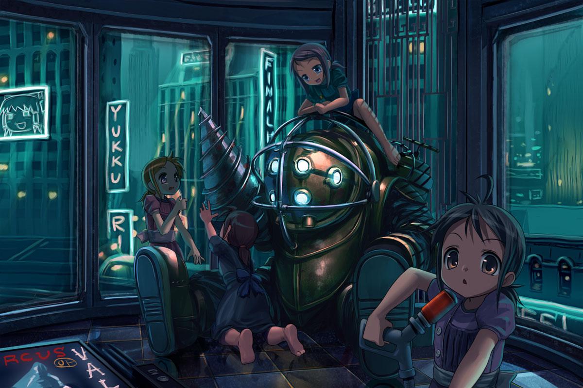 big_daddy bioshock bioshock_(series) little_sister patorishia touhou yukkuri_shiteitte_ne