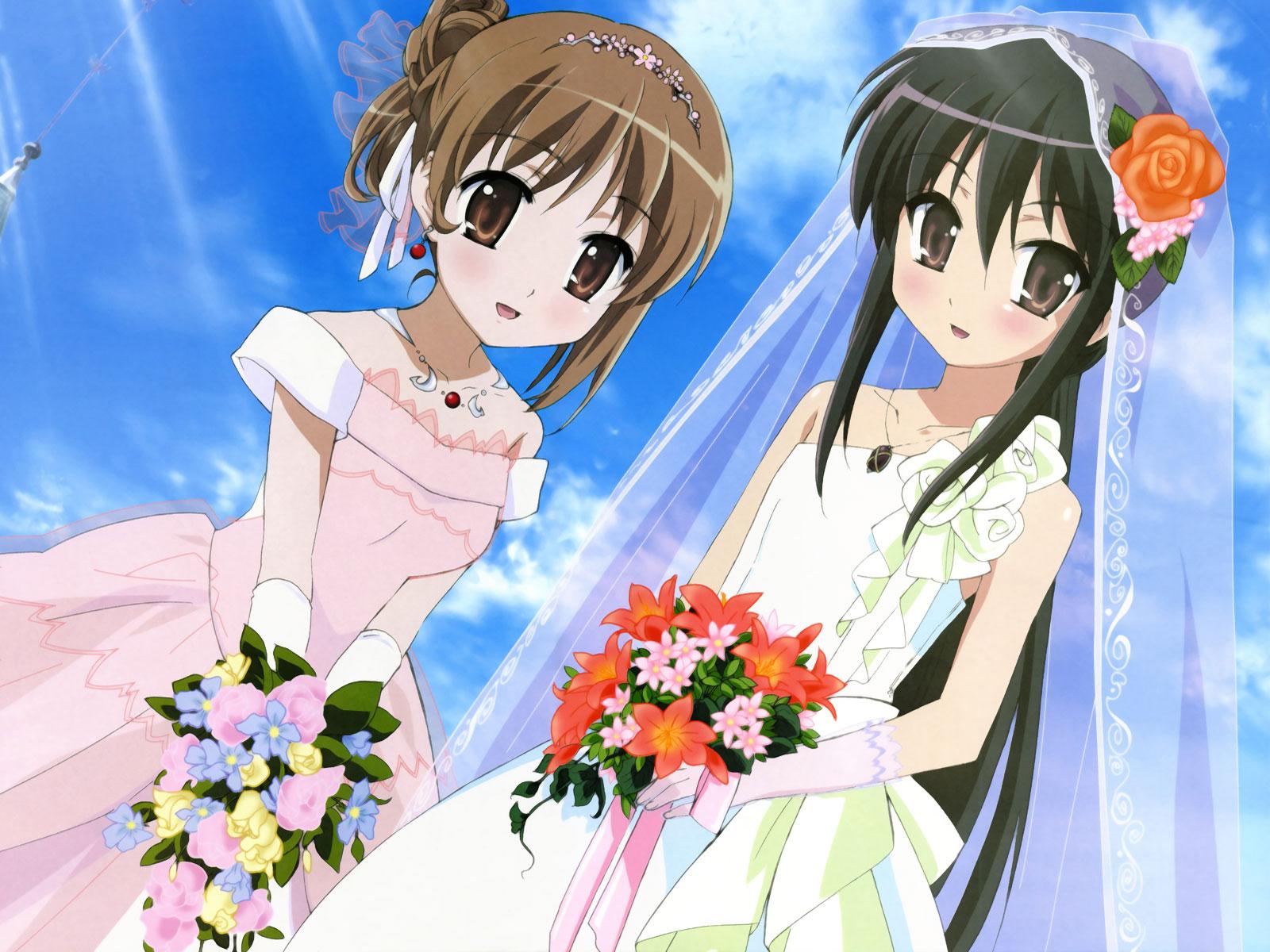 black_hair brown_eyes brown_hair elbow_gloves flowers gloves necklace shakugan_no_shana shana sky wedding wedding_attire yoshida_kazumi