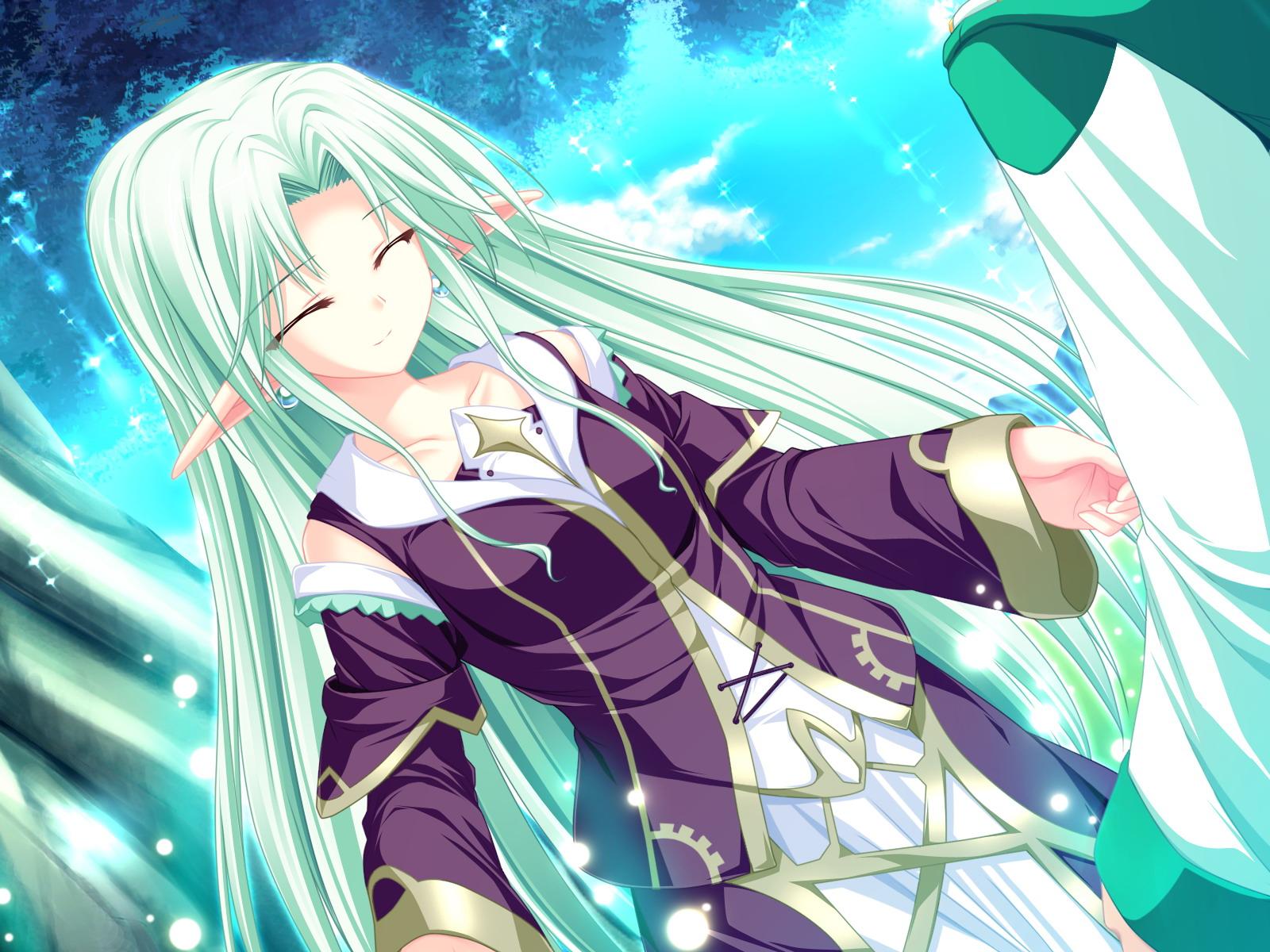 cecile_absentia dress game_cg green_hair long_hair magus_tale pointed_ears tenmaso whirlpool