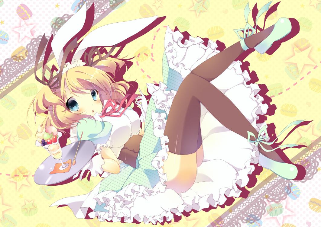 animal_ears blonde_hair blue_eyes bunny_ears bunnygirl dress food ice_cream original ribbons short_hair stars thighhighs umi_no_mizu waitress
