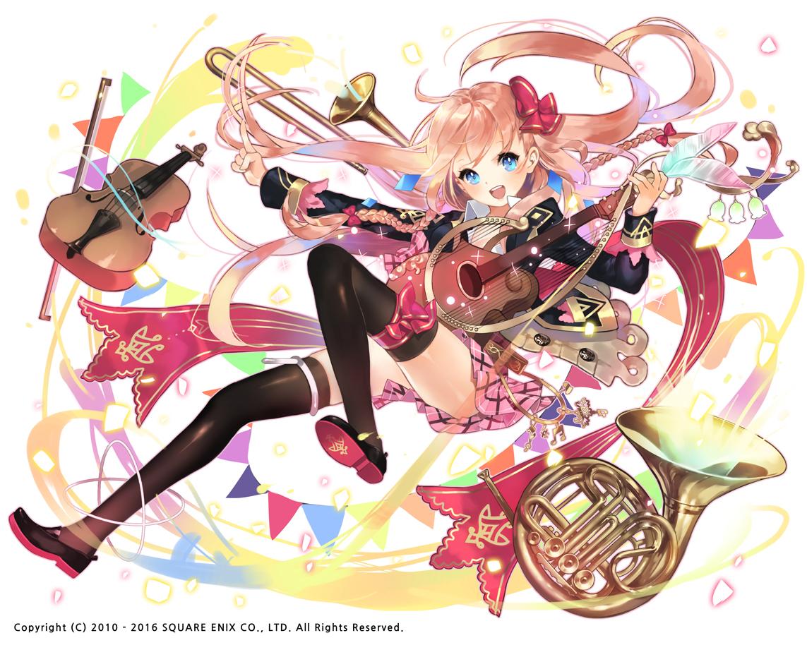 aqua_eyes blonde_hair bow braids guitar instrument kaku-san-sei_million_arthur long_hair school_uniform seal_(pukozin) thighhighs violin watermark