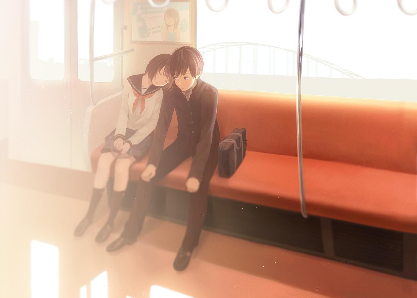 black_eyes brown_hair hinata_(lipcream) kneehighs male original school_uniform short_hair skirt sleeping train