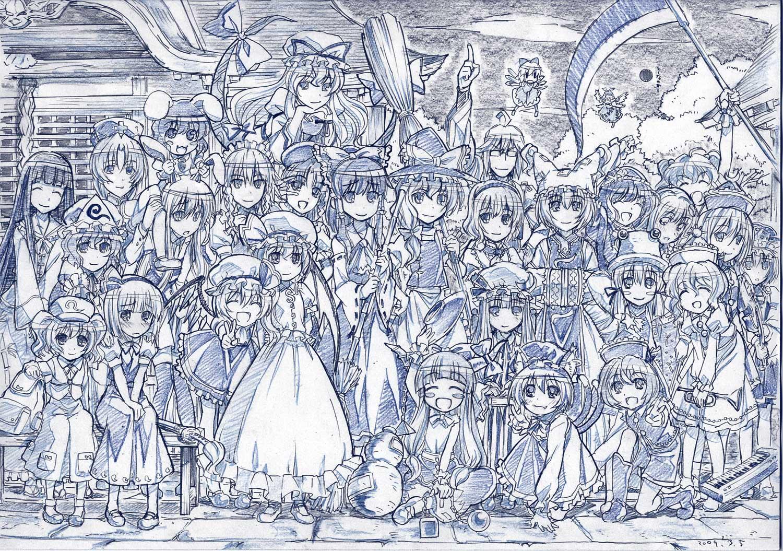 alice_margatroid animal_ears blush bow braids bunny_ears bunnygirl catgirl chain chen cirno dress drink fairy flandre_scarlet foxgirl glasses group hakurei_reimu hat headband headdress hong_meiling horns houraisan_kaguya ibuki_suika inaba_tewi instrument izayoi_sakuya japanese_clothes kawashiro_nitori kirisame_marisa kochiya_sanae konpaku_youmu long_hair lunasa_prismriver lyrica_prismriver maid male merlin_prismriver miko monochrome morichika_rinnosuke moriya_suwako mystia_lorelei onozuka_komachi patchouli_knowledge reisen_udongein_inaba remilia_scarlet saigyouji_yuyuko scythe shiki_eiki short_hair sketch socks touhou twintails vampire weapon wings witch yagokoro_eirin yakumo_ran yakumo_yukari yasaka_kanako zaxzero