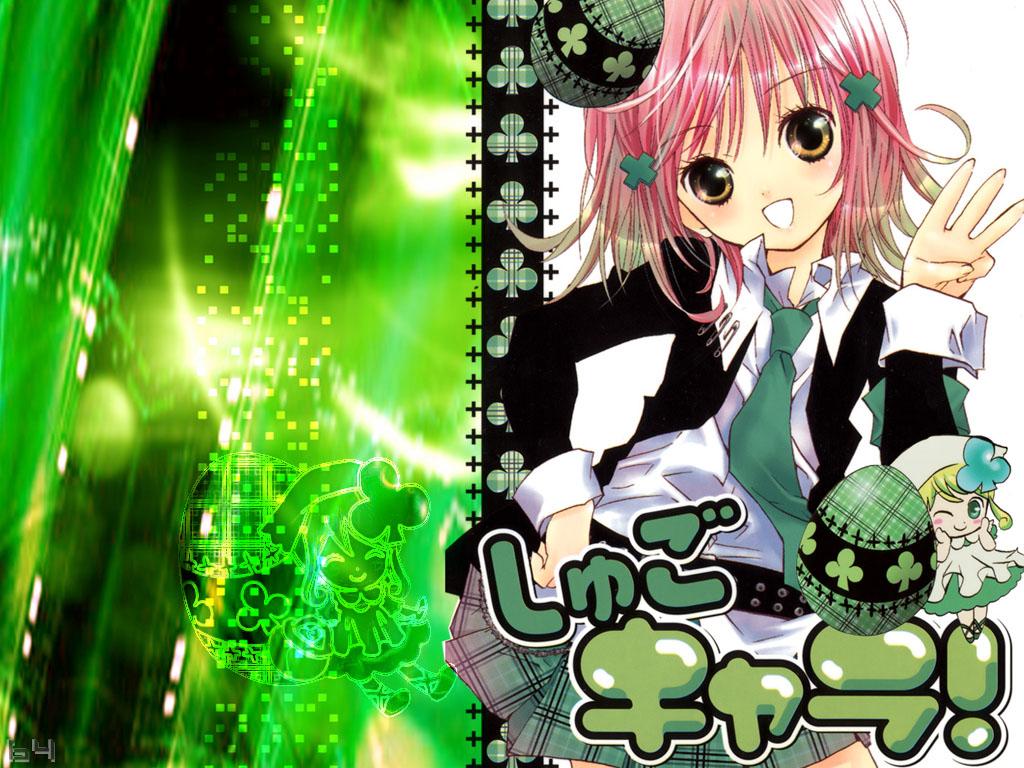 green hinamori_amu jpeg_artifacts peach-pit pink_hair school_uniform short_hair shugo_chara suu_(shugo_chara) tie yellow_eyes