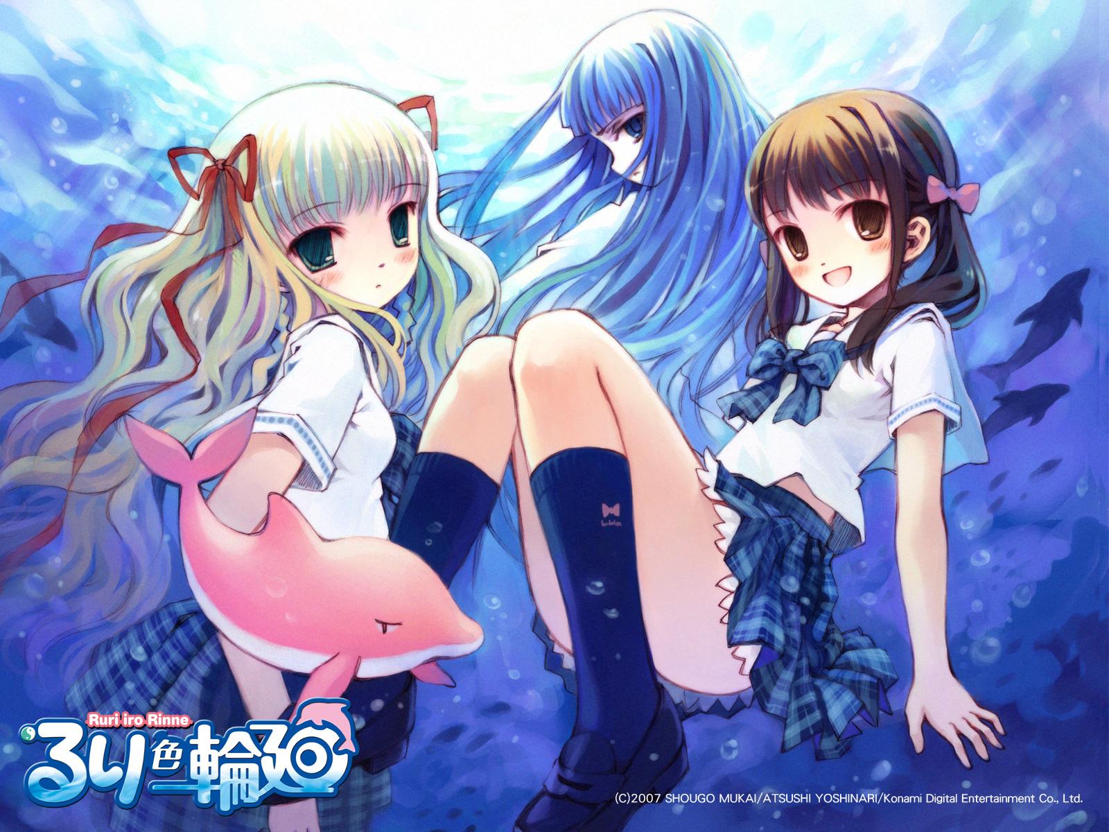 blonde_hair blue_eyes blue_hair brown_eyes brown_hair green_eyes kayano_ushio mizusawa_ruri ruri_iro_rinne yoshinari_atsushi