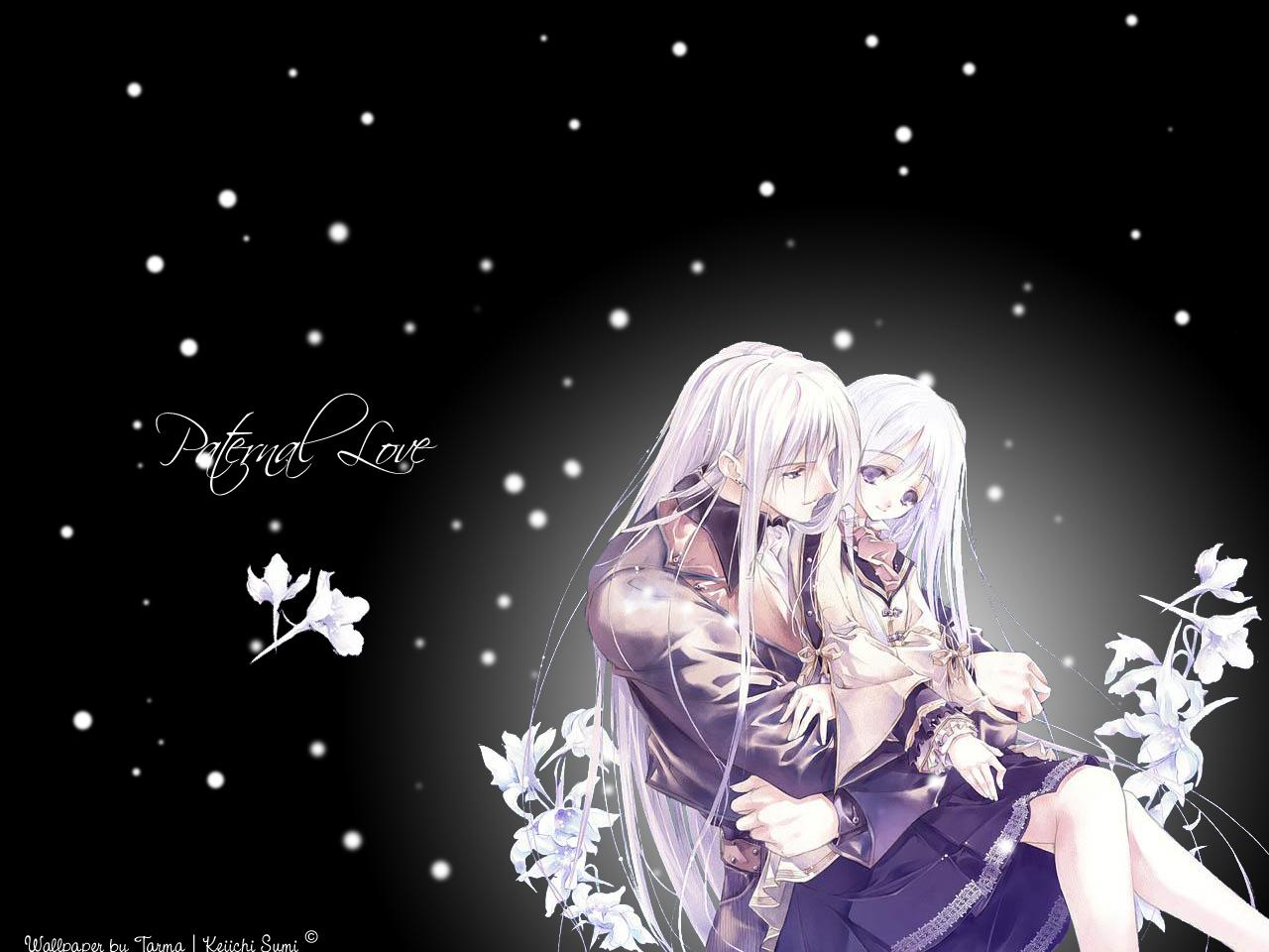 black flowers long_hair purple_eyes snow sumi_keiichi white_hair