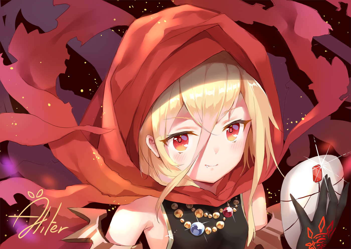 aliter blonde_hair blush close evileye fang hoodie loli long_hair mask necklace orange_eyes overlord signed