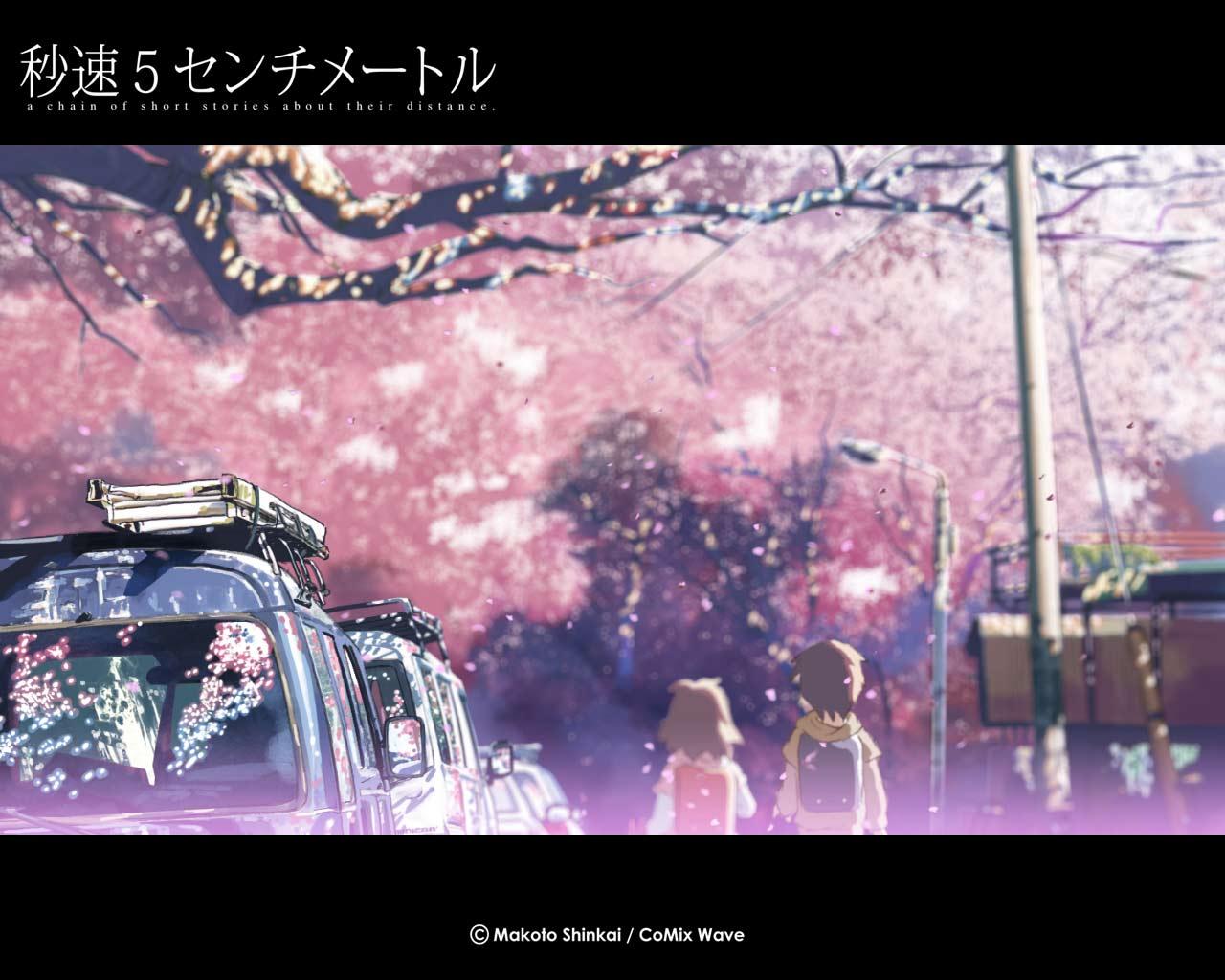 brown_hair byousoku_5_centimetre car cherry_blossoms flowers petals shinkai_makoto shinohara_akari short_hair toono_takaki tree
