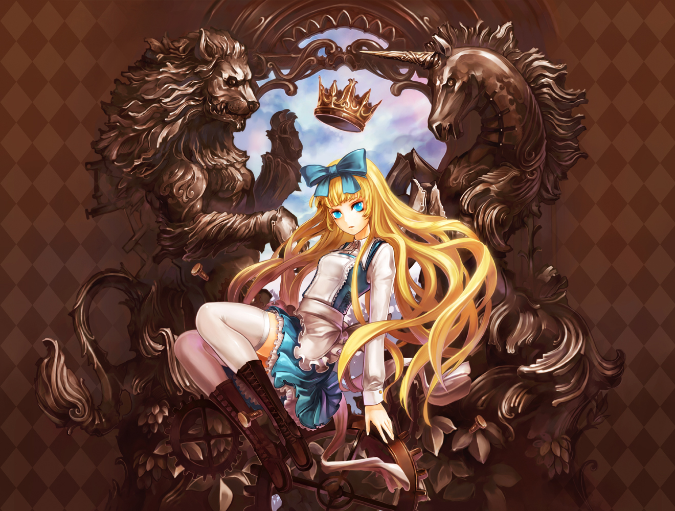 alice_(wonderland) alice_in_wonderland aqua_eyes blonde_hair boots suzuya