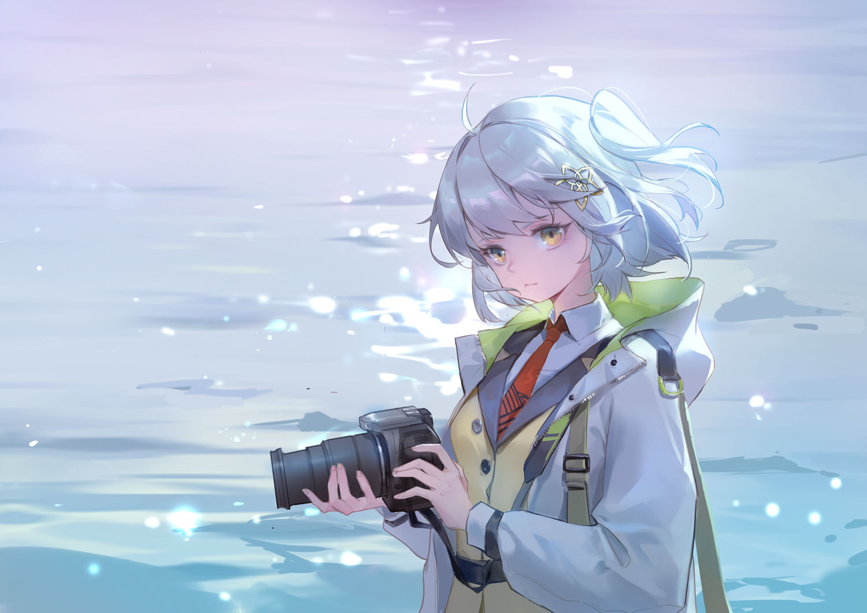 arknights blue_hair brown_eyes camera hoodie jpeg_artifacts kurasamerukia scene_(arknights) short_hair tie water