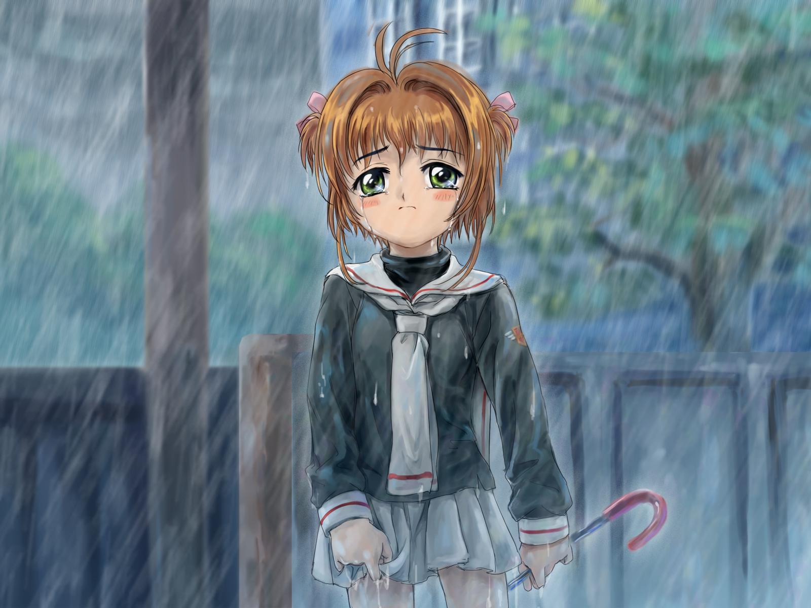 card_captor_sakura crying kinomoto_sakura moonknives rain school_uniform water