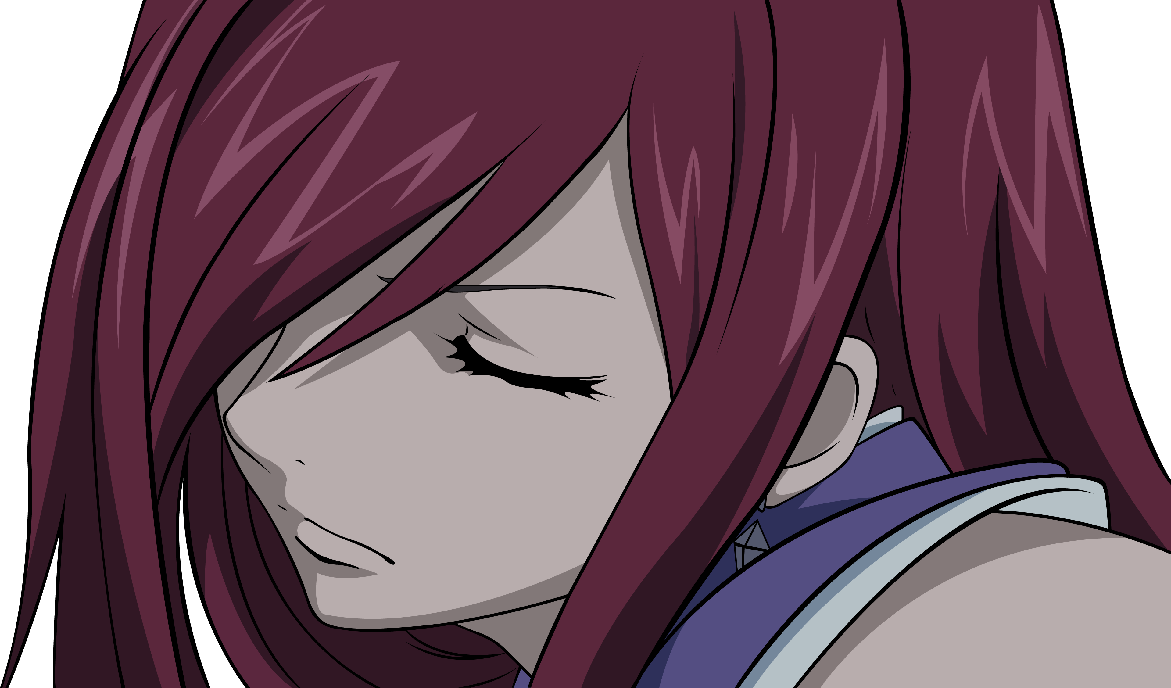 Close erza scarlet fairy tail red hair transparent vector - Erza scarlet wallpaper ...