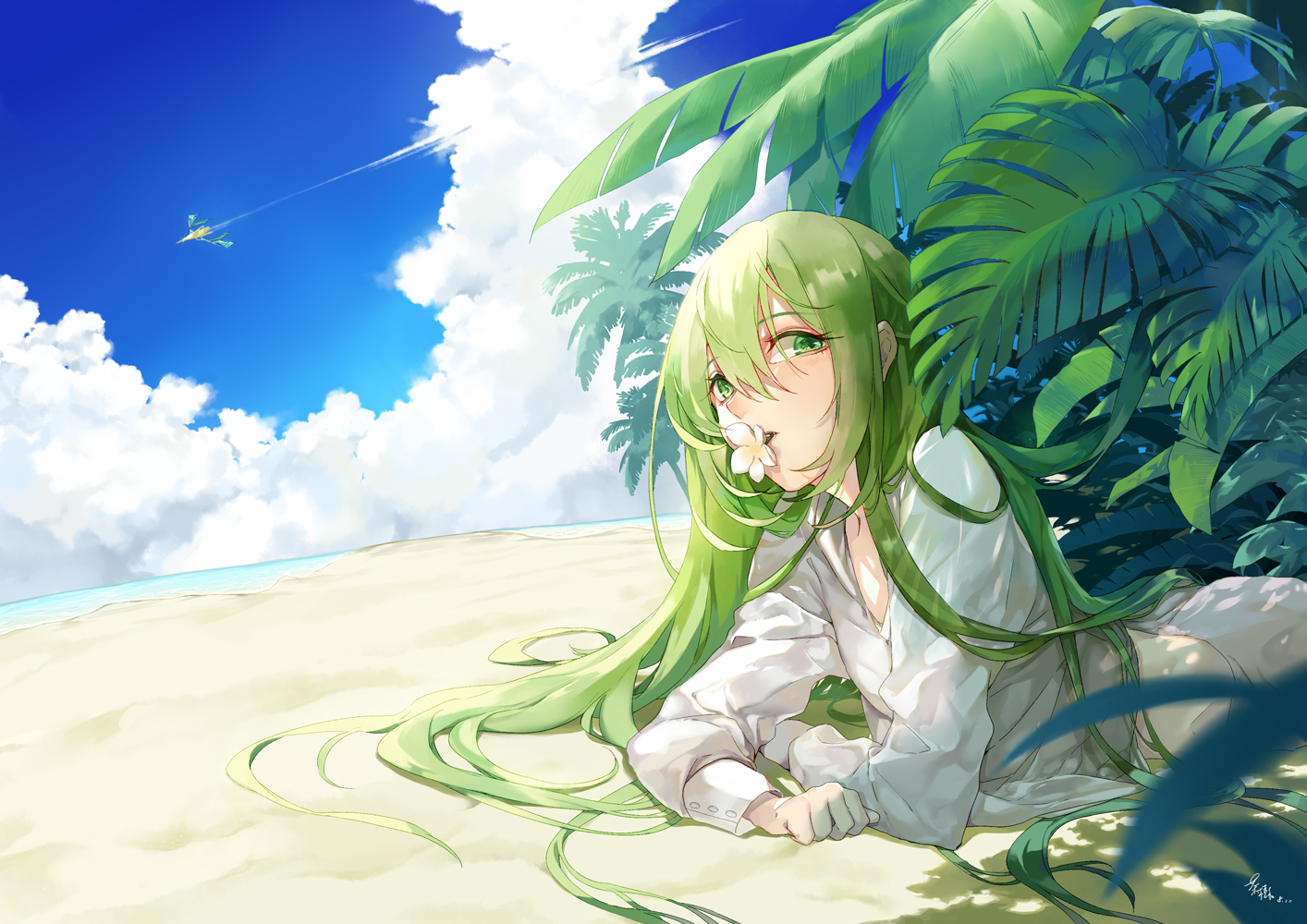 all_male beach clouds enkidu fate/grand_order fate_(series) green_eyes green_hair long_hair male saki_(nighters) shirt signed sky water