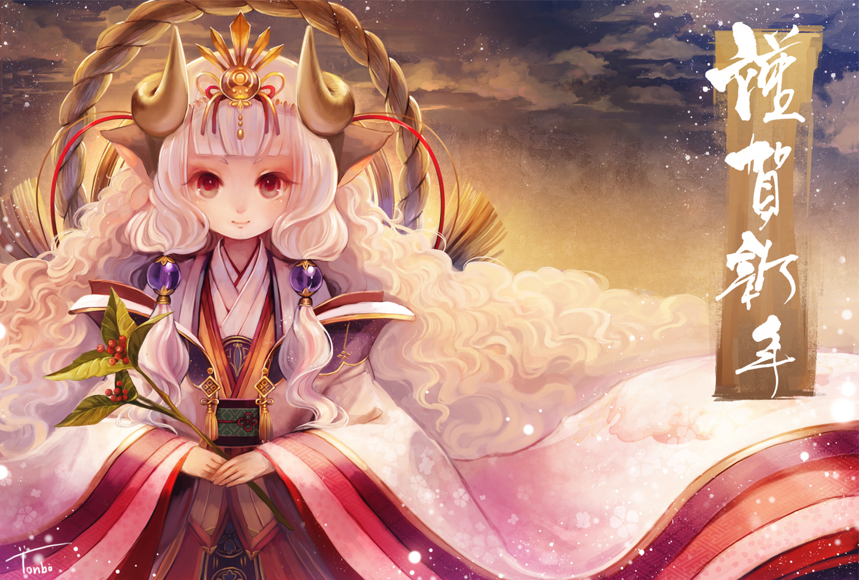 aka_tonbo_(lovetow) horns japanese_clothes long_hair original red_eyes rope sheepgirl signed white_hair