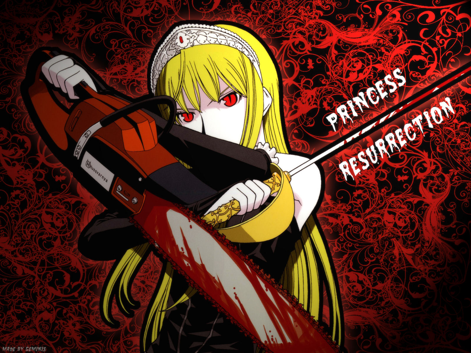 blonde_hair blood chainsaw crown hime kaibutsu_oujo long_hair red_eyes signed sword weapon