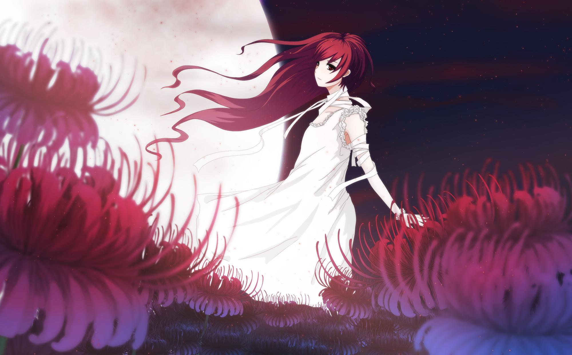 bandage delant dress flowers long_hair moon red_hair tagme